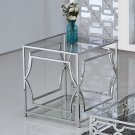 GW120 – Abigail Silver w/ Glass Living Room End Table