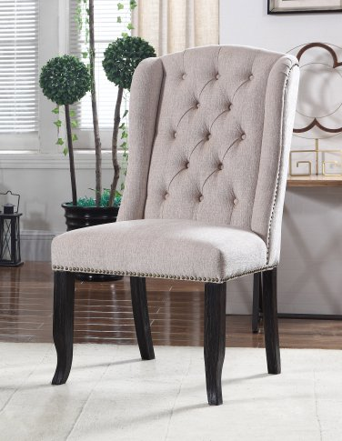 Y784 Huntington, 2 Pieces Upholstered Side Chairs with Tufted Back (Beige)