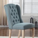 Y784 Huntington, 2 Pieces Upholstered Side Chairs with Tufted Back (Sea Blue)