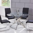 T01, Alison 5 Pieces Modern Dinette Set with Glass Top (Black)