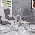 T01, Alison 5 Pieces Modern Dinette Set with Glass Top (Grey)