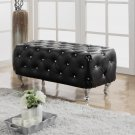 387, Brittany Upholstered Leather Bench with Tufted Look and Crystals (Black)