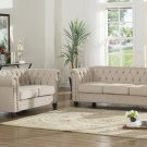 YS001, Venice Upholstered Living Room Sofa and Loveseat (Beige)