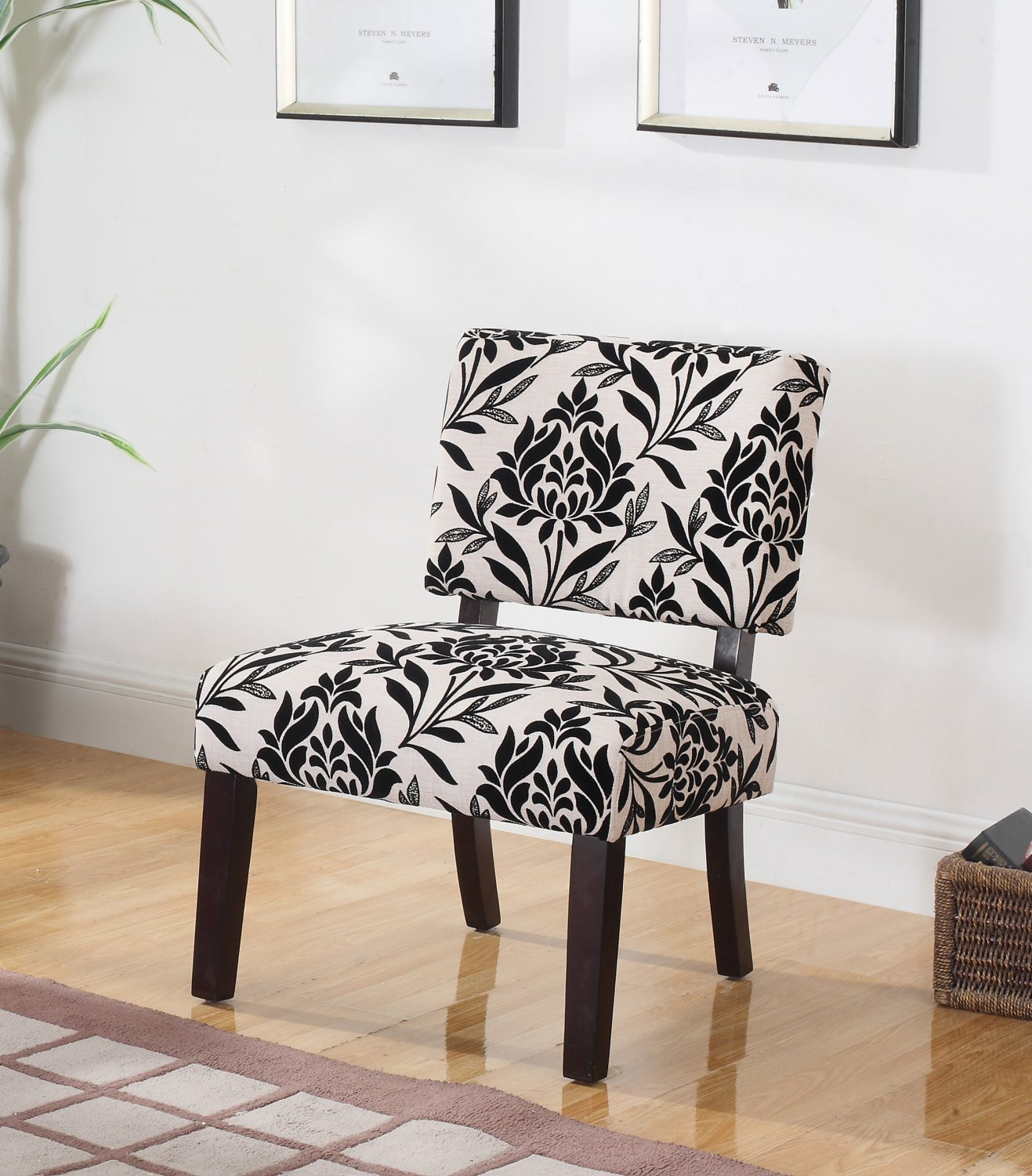 Y802 Willow Black Floral Upholstered Living Room Accent Chair