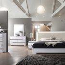 Athens, White Lacquer 5 Pcs Platform Modern Bedroom Set (Queen)