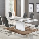 U626, Alaskan 5 Pieces Extendable High Gloss Dining Set (Grey/White)