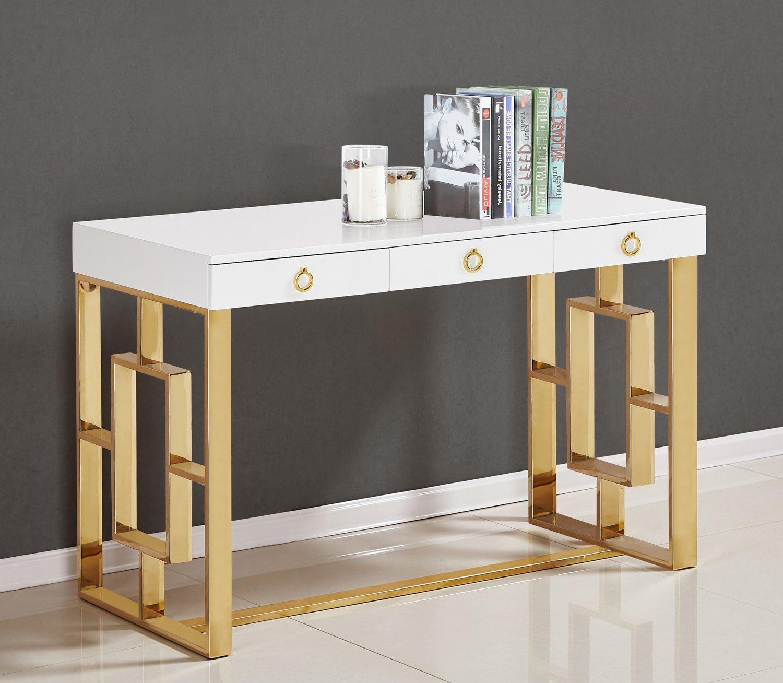 Ba211 Brooks Contemporary 3 Drawer Writing Desk Gold