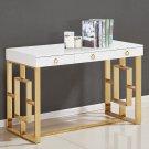 BA211, Brooks Contemporary 3 Drawer Writing Desk, (Gold)