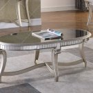 T1890, Legend Champagne Finish with Glass Top Living Room Coffee Table