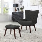 HL33, Mid Century Asphalt Finish Accent Chair with Ottoman