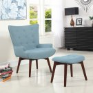 HL34, Mid Century Capri Finish Accent Chair with Ottoman