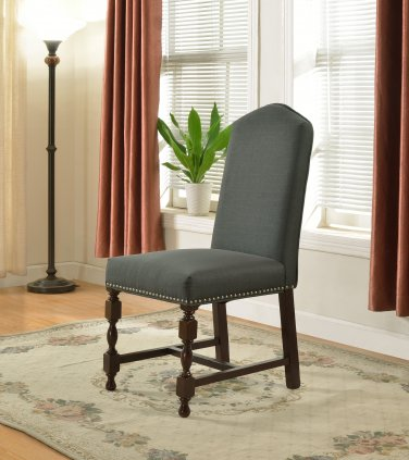 592 � Traditional Stone Gray Dining Side Chairs (Set of 2 Pcs)