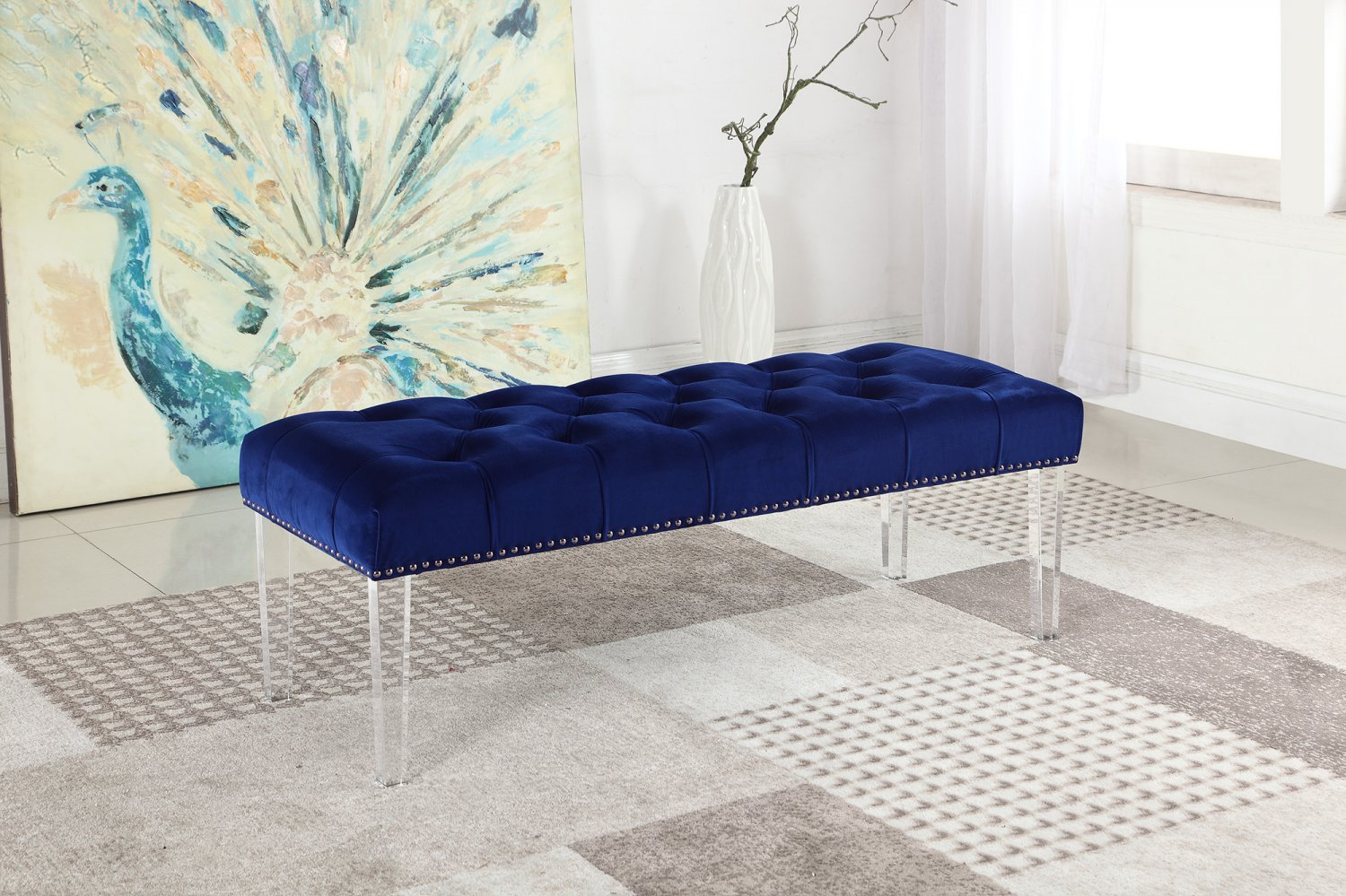 YF07, Suede Upholstered Tufted Bench with Acrylic Legs (Navy Blue)