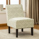 5092, White and Olive Upholstered Living Room Armless Accent Chair