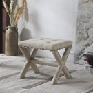621, Linen Blend Accent Bench with Champagne Nail Heads (Natural)