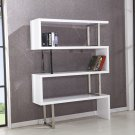 BA201, White Modern 3 Shelf Bookshelf with Chrome