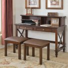W1806, Cherry Traditional Writing Desk with 2 Stools