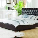 JP03, Bonded Leather Platform Tufted Queen Bed with Bronze Nail Heads