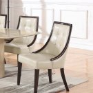 2934/2935, Raphael Traditional Faux Leather Dining Side Chairs, Set of 2 (Ivory/ Espresso)