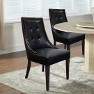 2934/2935, Raphael Traditional Faux Leather Dining Side Chairs, Set of 2 (Black/ Espresso )