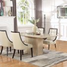 2935, Raphael 5 Pcs Rectangular Marble Dining Set (Ivory/ Espresso)