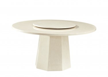 2929 � Contemporary Design Ivory Round Marble Table with Lazy Susan