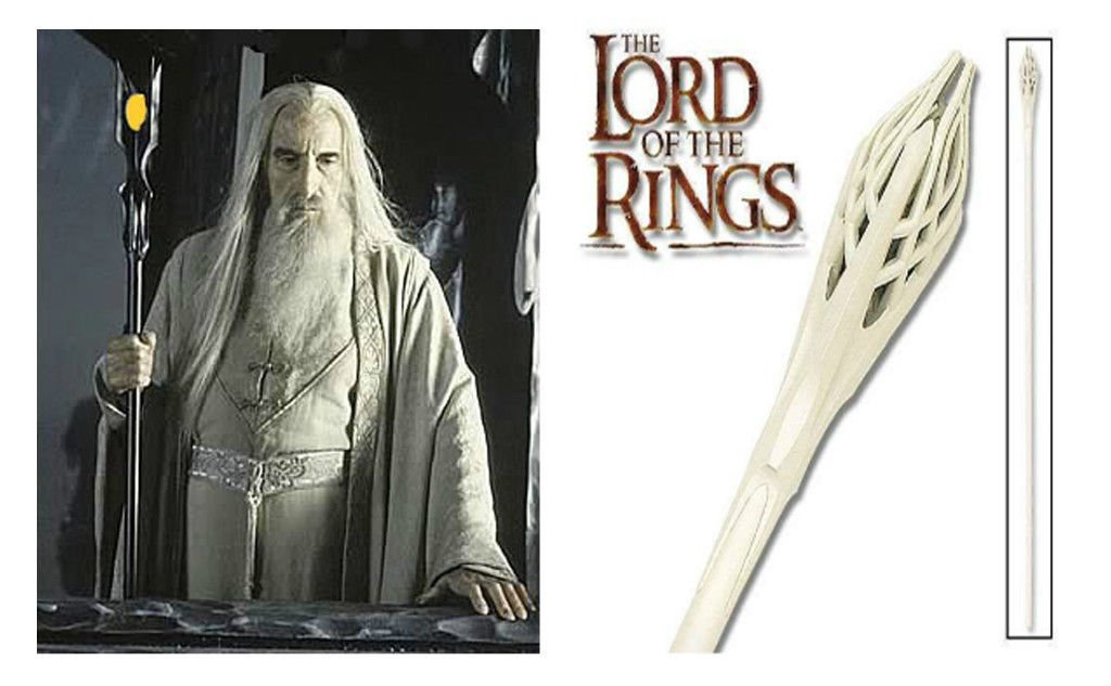 Staff of gandalf white & Staff of Saruman Black From LOTR
