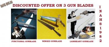 FUNCTIONAL Gunblade+ WINGED Gunblade+LIONHEART Gunblade with Stands & Sheaths
