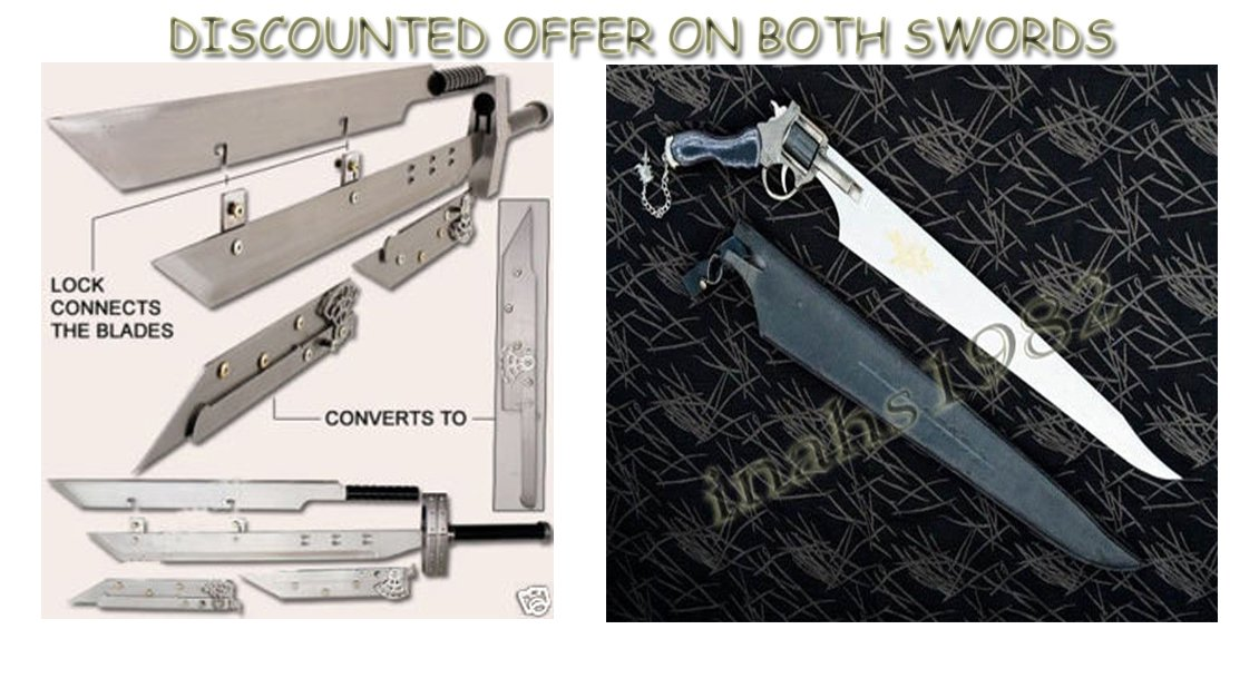 Advent Buster + FUNCTIONAL Gunblade Swords W / Stands