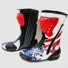 Americal Flag Men's Motorcycle Boots Riding Leather Boots in All Size