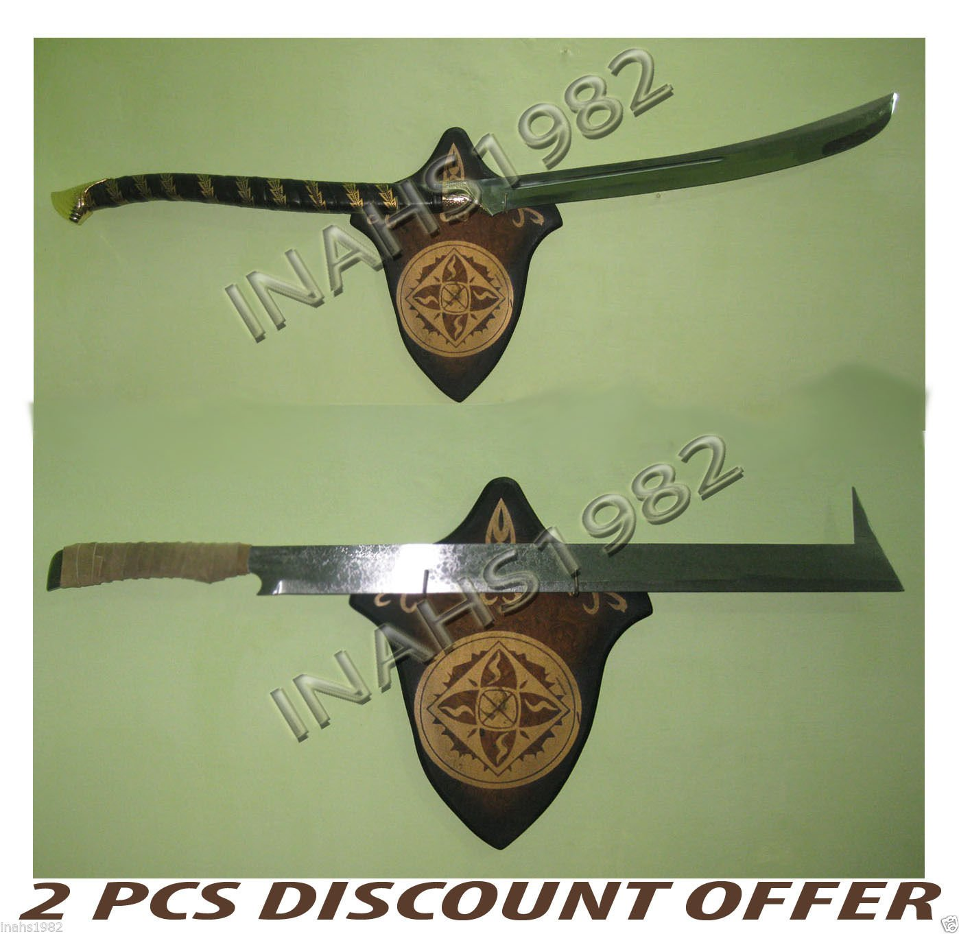 2 PCS High Elven Warrior Sword + Uruk-Hai Scimitar Sword - LOTR With Wall Plaque