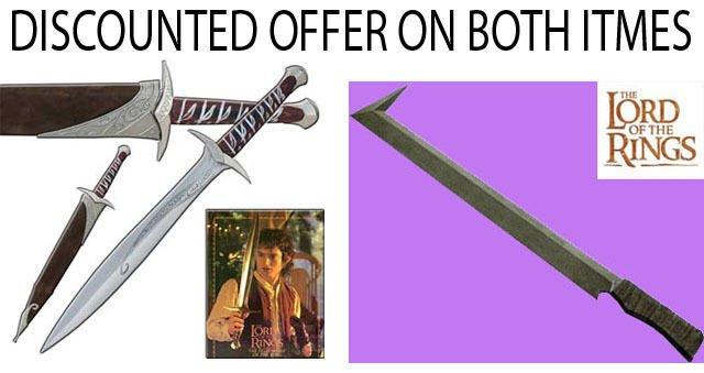 """Sting Sword LOTR  + Uruk Hai Scimitar Sword LOTR 31"""""""