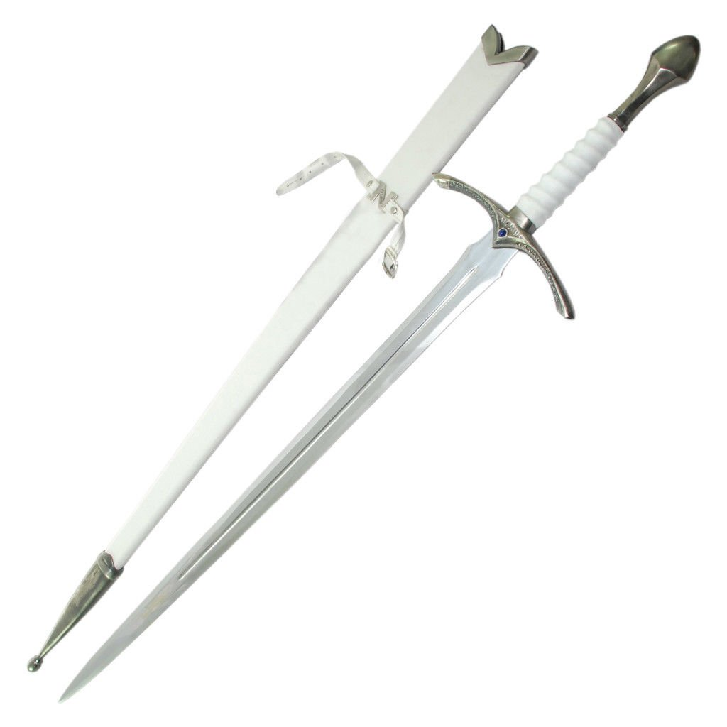 LOTR Glamdring Sword of Gandalf in White Color +Scabbard + Wall Plaque