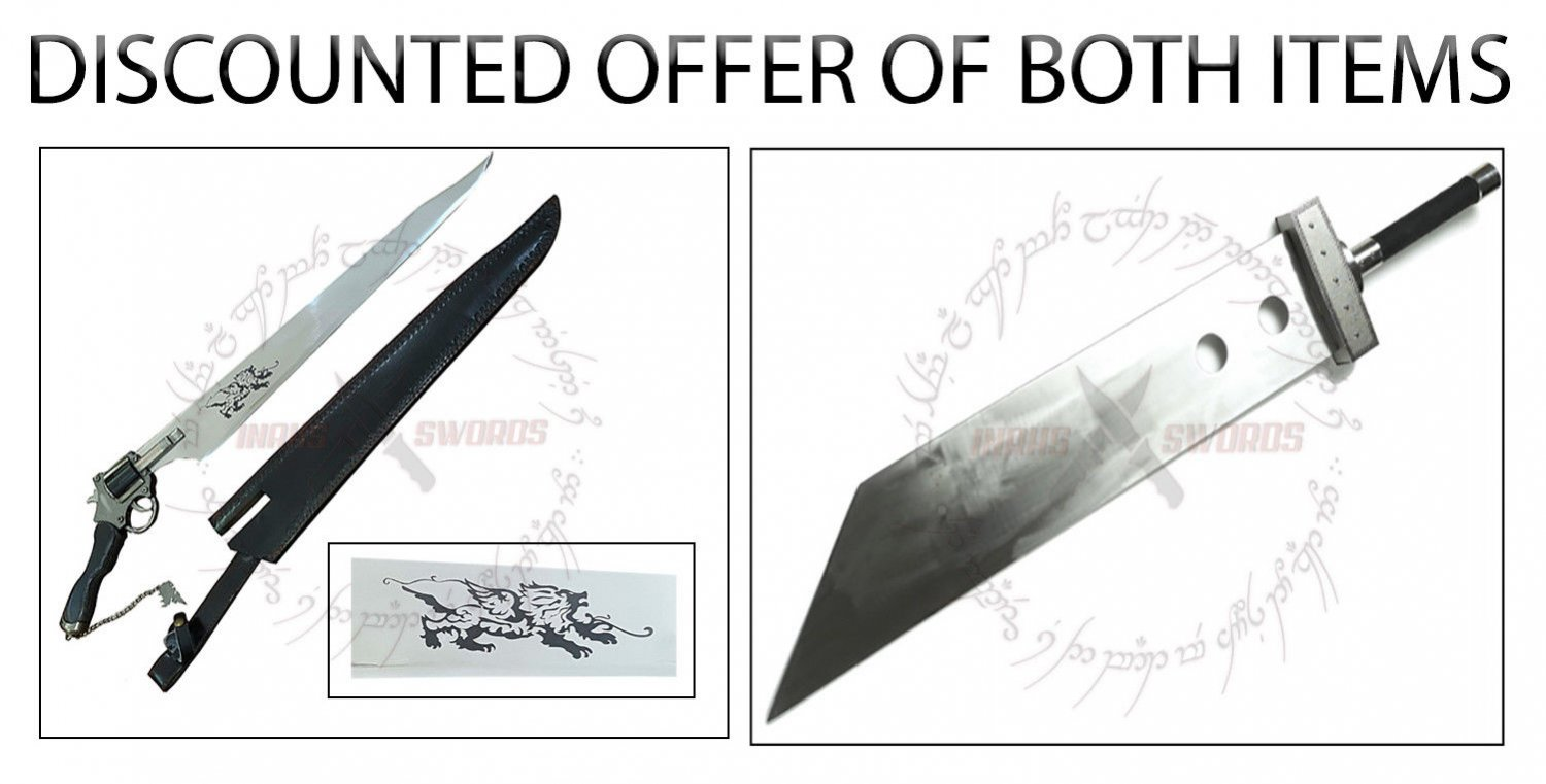 """Functional Squall Gunblade Revolver Sword + Cloud Buster Strife Sword 52"""""""