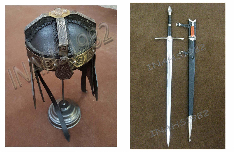 Gimli Helmet FROM LOTR + Aragorn Strider Sword with knife