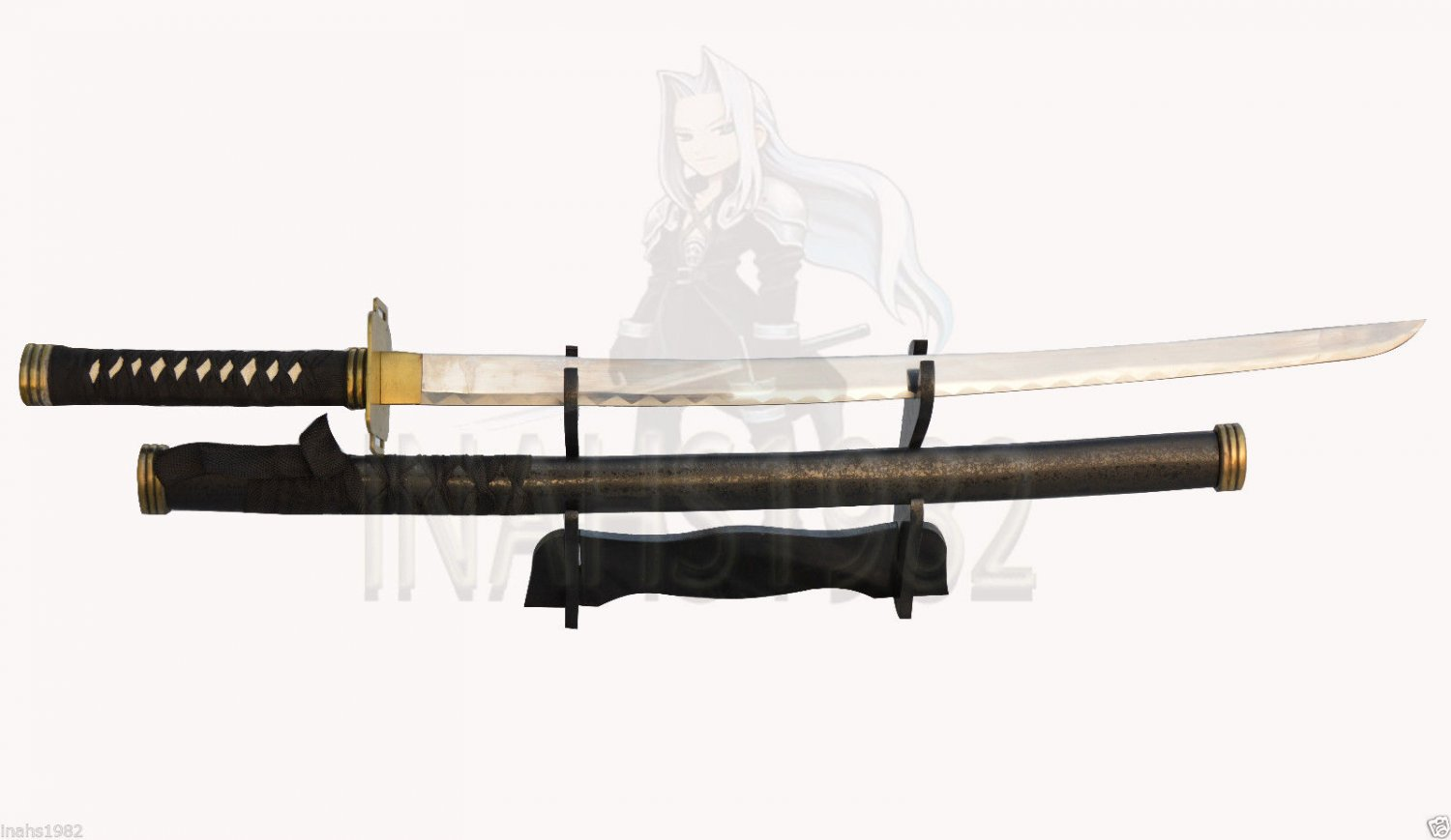 """Final Fantasy Masamune Sephiroth's Sword 38"""" With Wooden Stand"""