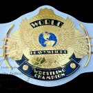 WWF Wing Eagle WHITE LEATHER Championship Wrestling Belt