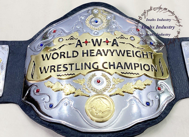 AWA World Heavyweight Championship Title Wrestling Leather Belt 4mm Zinc Plates