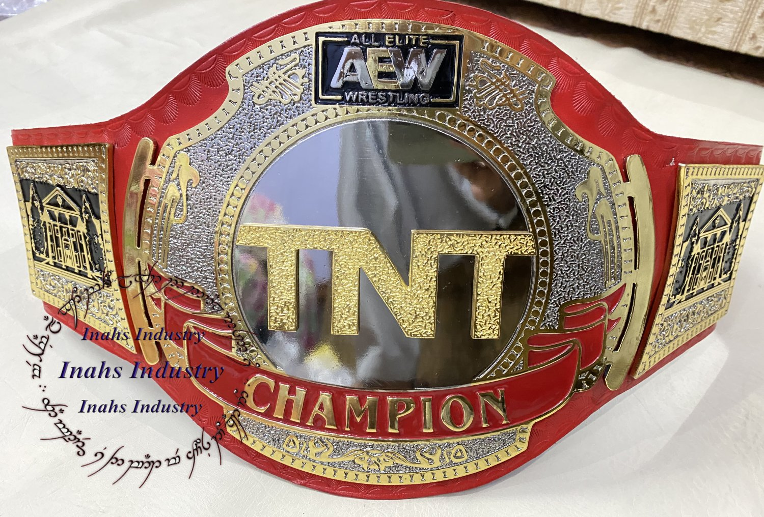 AEW TNT Championship Title Wrestling Leather Belt 4mm Zinc Plates