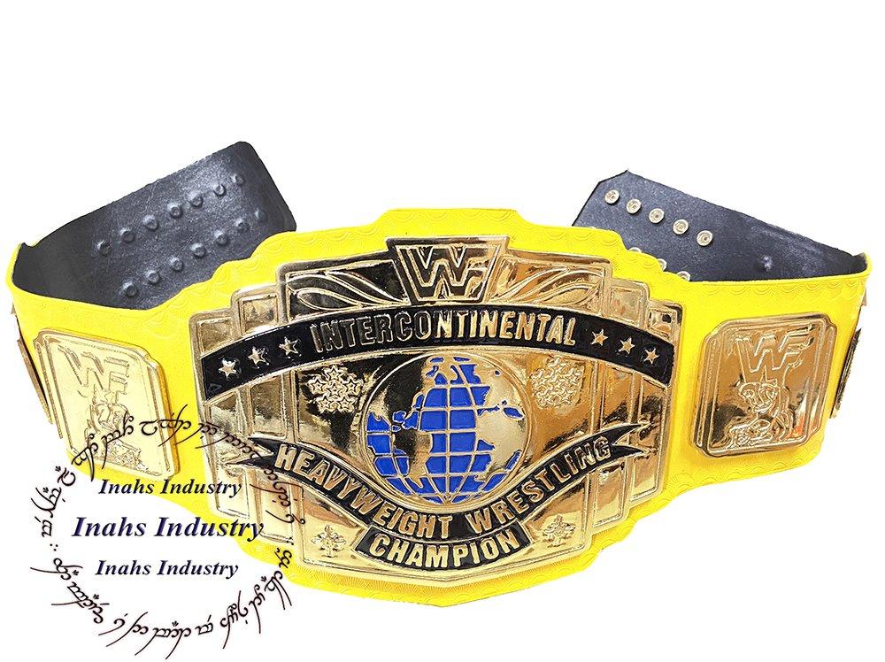 WWF Intercontinental HeavyWeight Championship Replica Wrestling Belt Yellow Leather Strap