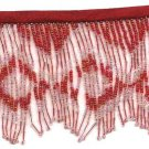"Beaded fringe 38"" width scallop wave glass bugle and beads f10red *free shipping"