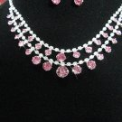 bridal jewelry accessories bride bridesmaid silver pink crystal necklace set N3883P