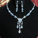 wedding bride jewelry accessories handmade bridesmaid silver blue dangle crystal necklace set N4722b