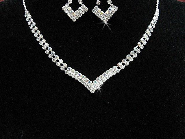 wedding bride jewelry accessories bridesmaid silver crystal necklace set N4850s