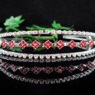 Bride wedding tiara bridesmaid accessories handmade silver crystal red headband regal P1277R