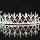 Bride wedding swarovski tiara bridesmaid accessories silver red crystal headpiece P1432r