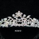 Bride bridesmaid wedding accessories silver alloy floral crystal regal comb 612