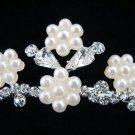 Bride bridesmaid wedding tiara accessories crystal floral pearl regal comb 592