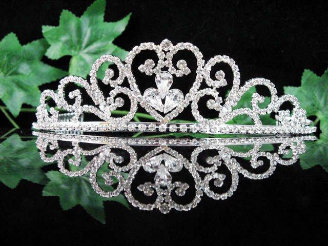 wedding tiara bride bridesmaid accessories crystal sweetheart regal imperial comb 011S