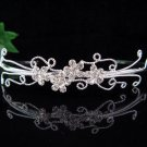 wedding tiara bridal accessories crystal silver headband,filigree simple regal imperial comb 4533